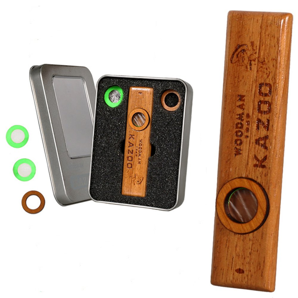 Wood KAZOO for Music Accompaniment with Spare Flute Diaphrams,Ukulele Guitar Partner