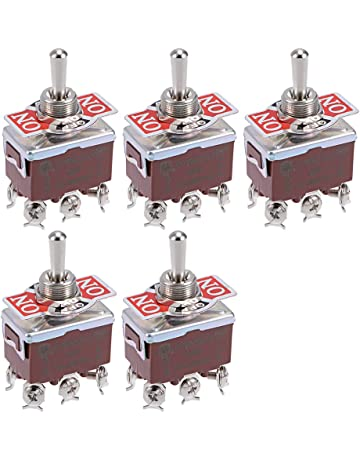 6A 125V UR listed Heschen Mini Momentary Toggle Switch MTS-223 ON-OFF-ON DPDT 6 Pin Pack of 5 2A 250V