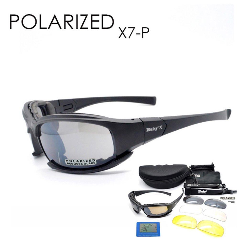 Daisy C5Polarisierte Brillen 4LS Herren Military Sonnenbrille Kugelsichere Airsoft Brillen Smoke Objektiv Motorrad Radfahren Eyewear, UV400 MODEL