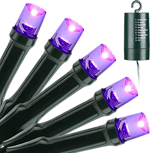 Joomer Purple Halloween Lights,Battery Operated 33ft 100 LED Purple String Lights Waterproof Halloween Lights with 8 Modes Timer for Halloween Decorations