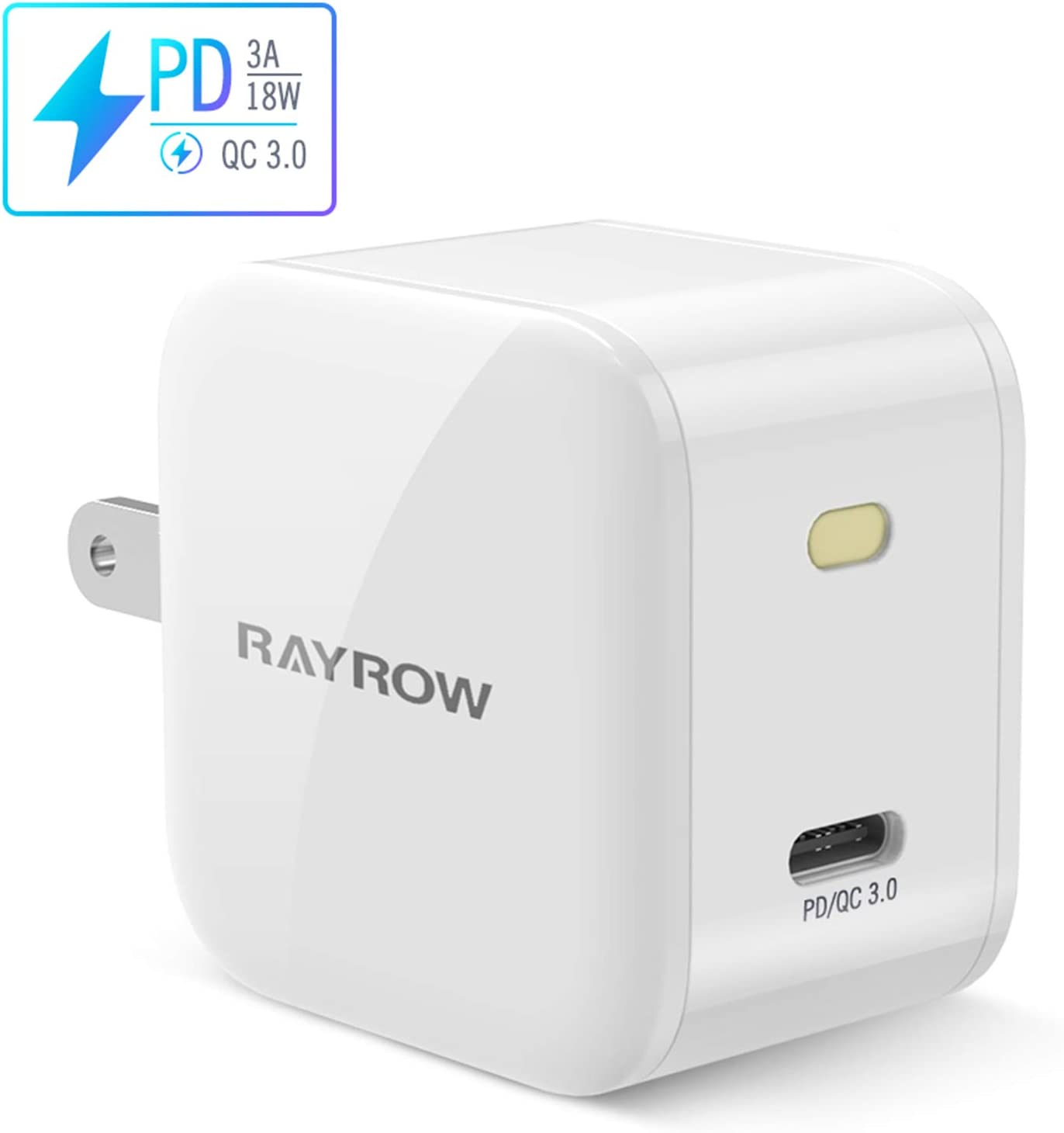 USB C Wall Charger, 18W PD3.0 Type C Power Delivery Fast Charging Power Adapter with Foldable Plug for iPhone 11/Pro/Max/XS/Max/XR/X, Pixel, Galaxy, iPad Pro and More