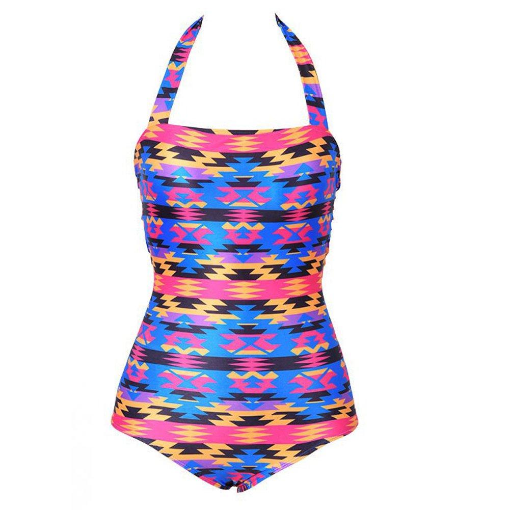 Diamondo Sexy One-piece Swimsuit Women Floral Hollow Out Back Halter Bandage Monokini (Asian L)