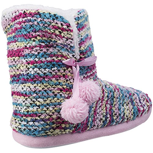 Divaz Womens/Ladies Vienna Pull On Knitted Fluffy Bootie Slippers Pink
