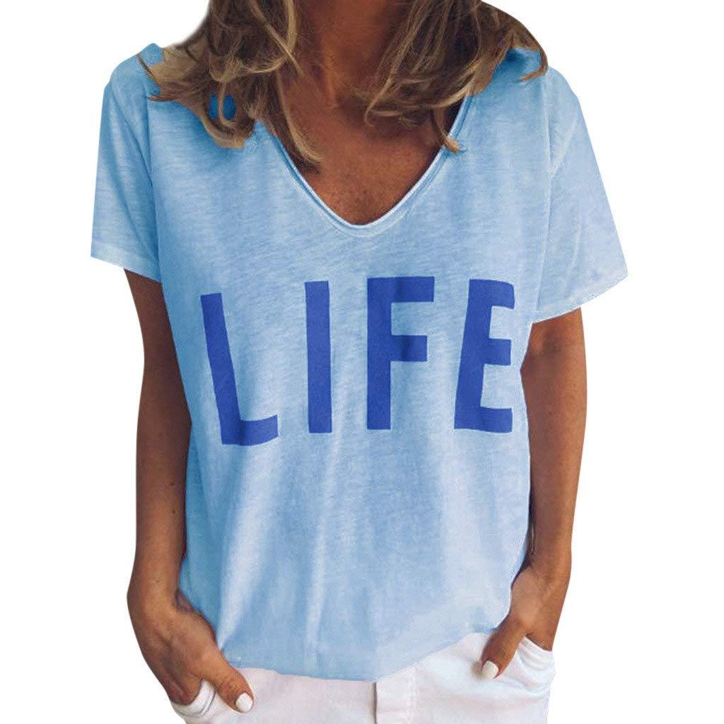 BaZhaHei T-shirt Donna Bluse Estivi Maglietta Manica Corta Donna Casual Stampa Camicia Tee shirt Sportivi Vintage Stretch Maglione Tumblr Elegante Estiva Tops