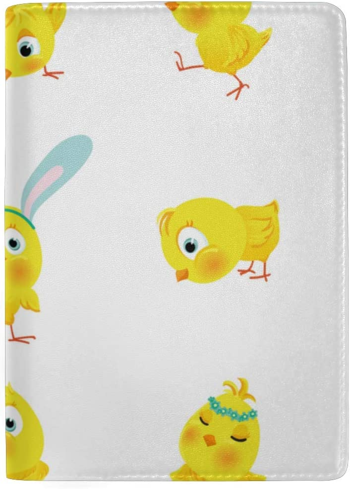 Yellow And Orange Chickens Blocking Print Passport Holder Cover Case Travel Luggage Passport Wallet Card Holder Made With Leather For Men Women Kids Family
