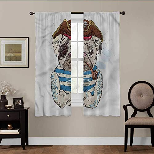 luvolux Pug Window Curtain Panel