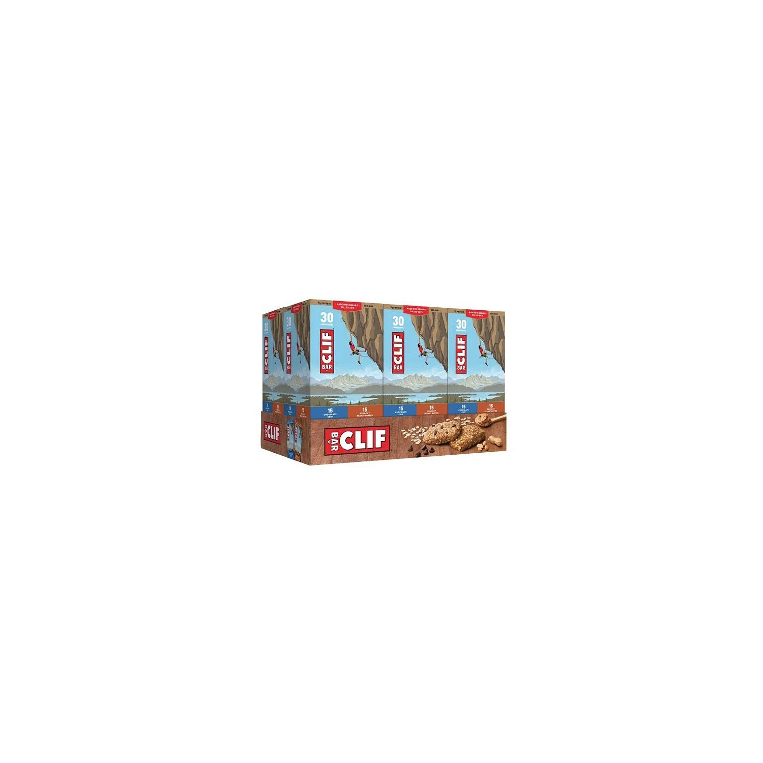 Clif Bar Variety Pack, Chocolate Chip, Crunchy Peanut Butter, 2.4 oz. Nutrition Bars (24 Count)(Pack of 2)
