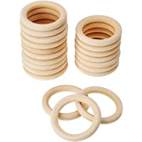 Wood DIY Crafts - 20 Pack Wood Rings Wooden Ring Pendant And Connectors Jewelry Making 70mm - Crafts Kids Wood Wood Crafts Craft Wooden Teether Hoop Ring Unfinish Decor Teeth Center Tung