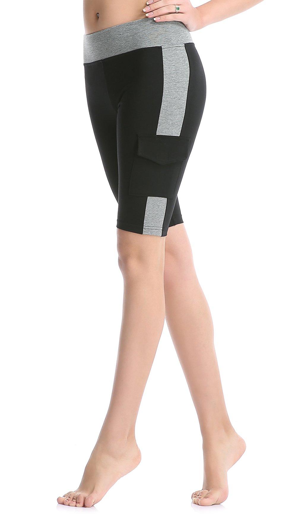 ABUSA Women's Cotton Workout Bike Yoga Shorts - Tummy Control S Gray by ABUSA