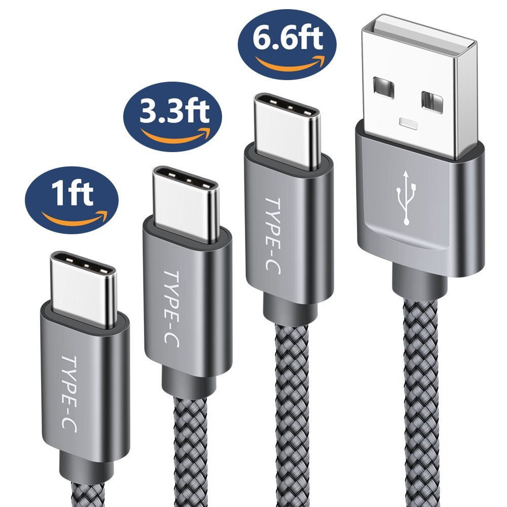 USB Type C Cable,JSAUX 3-Pack(1ft+3.3ft+6.6ft) USB-C to USB A 2.0 Fast Charger Nylon Braided Cord for Samsung Galaxy S9 S8 Plus Note 8,Google Pixel XL,Moto Z Z2,LG V20 G6 G5 Nintendo Switch More(Grey)