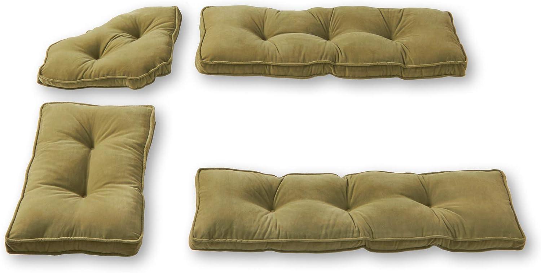 Greendale Home Fashions Hyatt 4-Piece Kitchen Nook Cushion Set, Fern