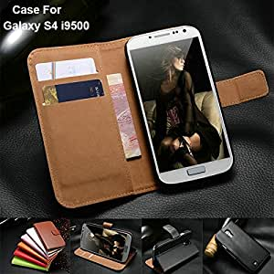 Classic Genuine Leather Wallet with Stand Case For Samsung Galaxy S4 i9500 SIV Phone Bag Cover Luxury Business Style Black Brown --- Color:style 1pink