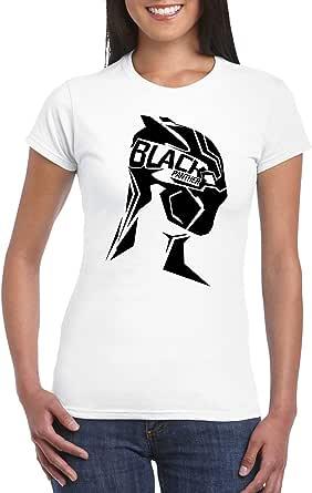 White Female Gildan Short Sleeve T-Shirt - Black panther side bust design