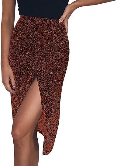 Holywin - Falda Corta con Cordones para Mujer, diseño de Leopardo ...