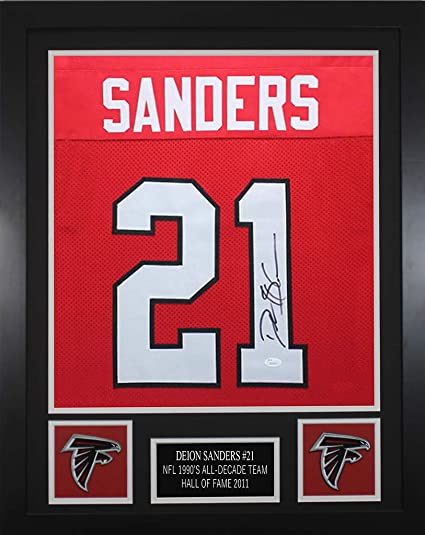 best website 92f26 4ecb2 Deion Sanders Autographed Red Falcons Jersey - Beautifully ...