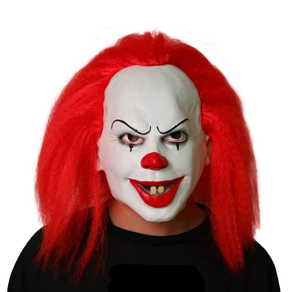 LCMJ WS Halloween Scary Clown Mask and Hair COS Theme Party Show, Decorative Props