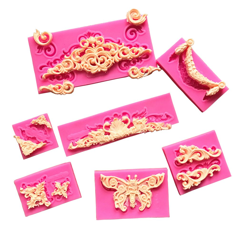 Baroque Style Curlicues Scroll Lace Fondant Silicone Mold for Sugarcraft, Cake Border Decoration, Cupcake Topper, Jewelry, Polymer Clay, Crafting Projects(Set of 7)