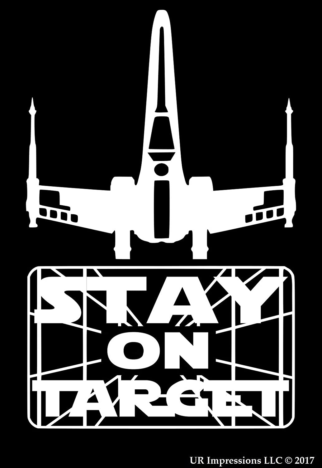 UR Impressions X-Wing Stay On Target Decal Vinyl Sticker Graphics for Cars Trucks SUV Vans Walls Windows Laptop|White|7 X 4.4 Inch|URI461