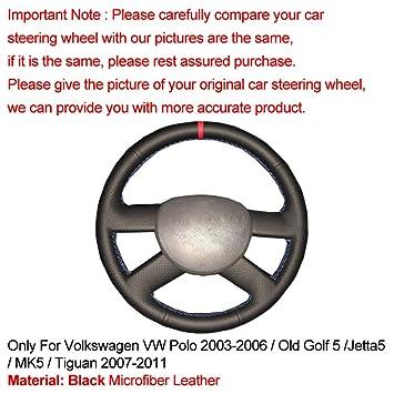 Mano Coser Cubierta del Volante del Coche para Volkswagen-VW Polo ...