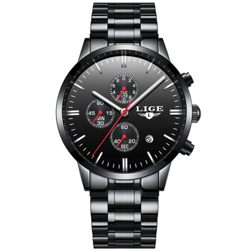 Men Waterproof Quartz Watch,Futemo Fashion Business Large Dial Stainless Steel Clasp Strap Watch Gift for Husband Boy by Futemo Men Sport Watch