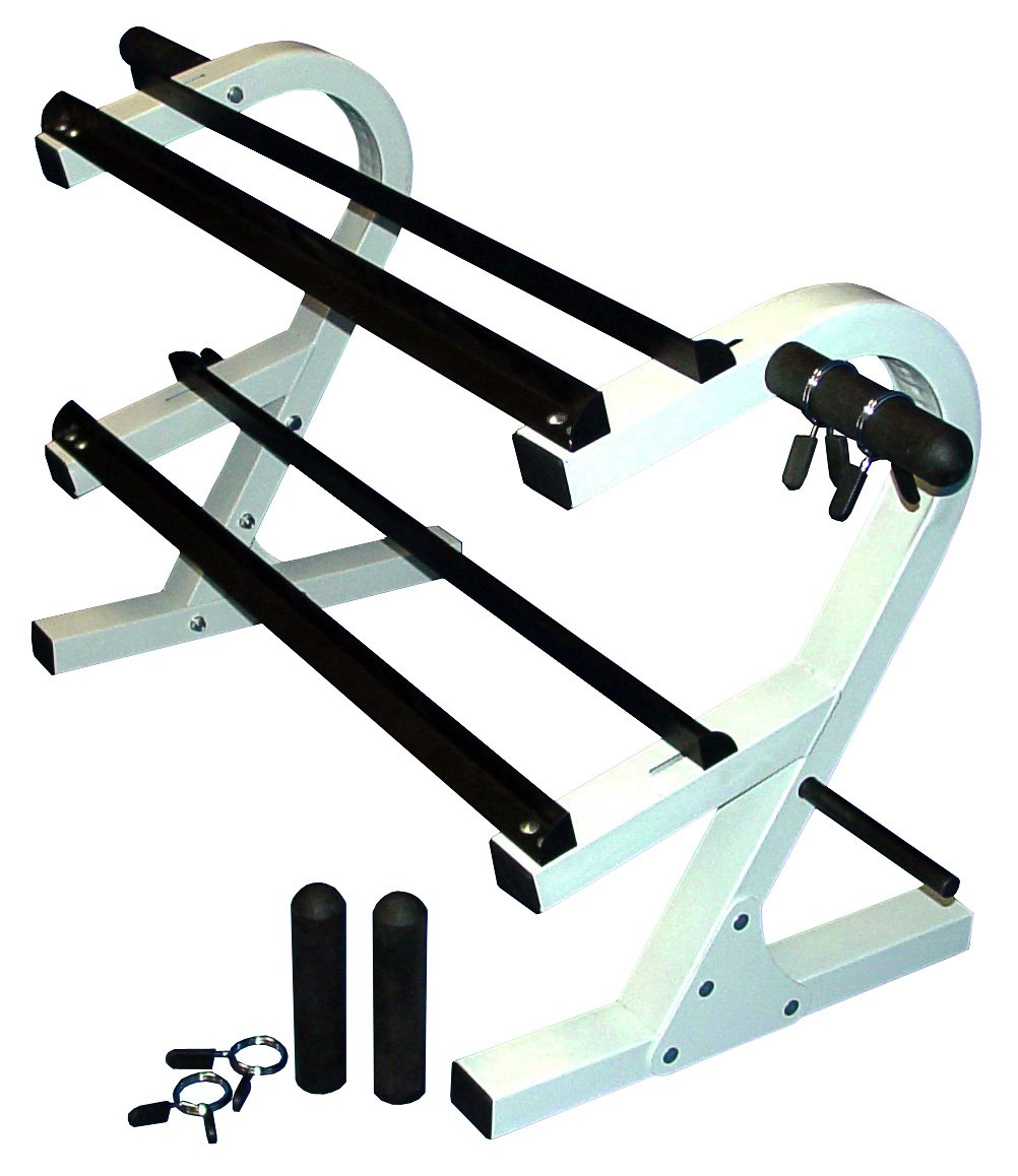 2 Tier 44'' Dumbbell Rack w/ 2 Olympic Adapters & 2 Pairs of 1'' & 2'' Spring Collars by Ader Sporting Goods
