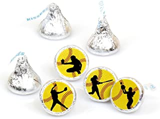product image for Grand Slam - Fastpitch Softball - Birthday Party or Baby Shower Round Candy Sticker Favors - Labels Fit Hershey's Kisses (1 Sheet of 108)