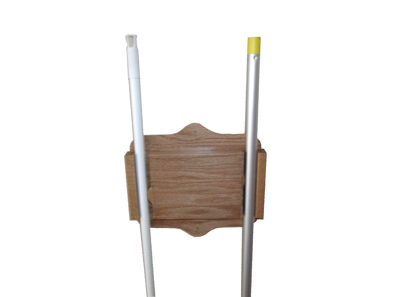 Hardwood Amish Made Broom, Mop Wall Mount Holder