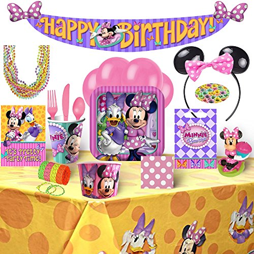 Minnie Mouse Birthday Party Supplies and Decorations for 8 Guests - 145 (Mickey And Minnie Mouse Birthday Party Decorations)