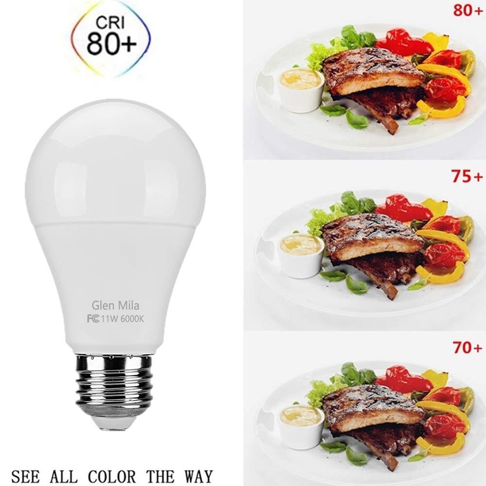 6000K LED Daylight White Bulbs A19 Type E26 Medium Screw Base 1100 Lumen General Purpose for Home Lighting Non Dimmable 4 Pack Glen Mila 100 Watt Light Bulb Equivalent 11W