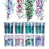 NICOLE DIARY 8 Boxes Green Purple Nail Chunky Glitter Paillette Colorful Ultra-thin Tips Iridescent Mixed Sizes Flakes for Face Body Hair Makeup Nail Art Decoration