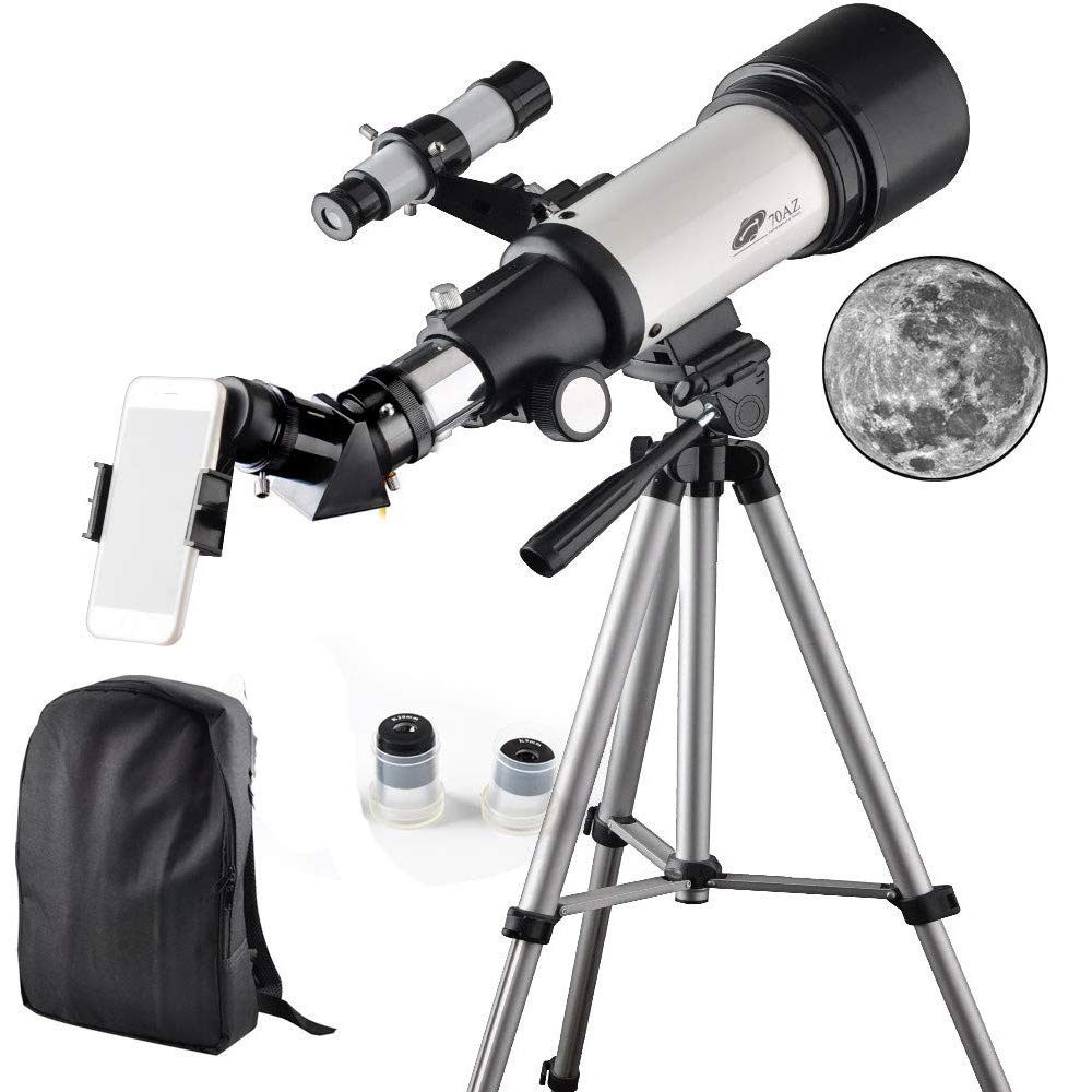 Telescope 70mm Apeture 400mm AZ Refractor Scope- Travel Scope for Kids and Beginners with Backpack, Tripod and Smartphone Adapter to View Moon and Planet by DoubleSun