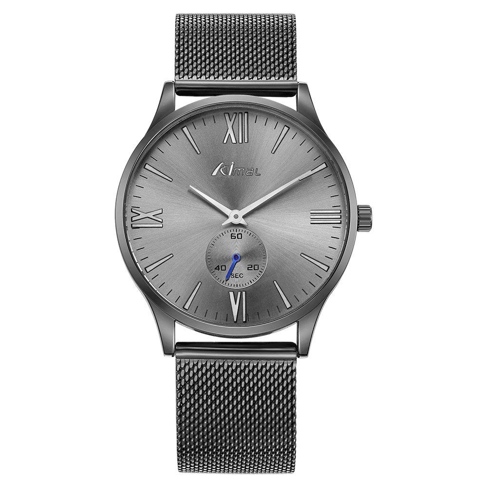 BAOGELA - Reloj de pulsera de malla para hombre, color gris