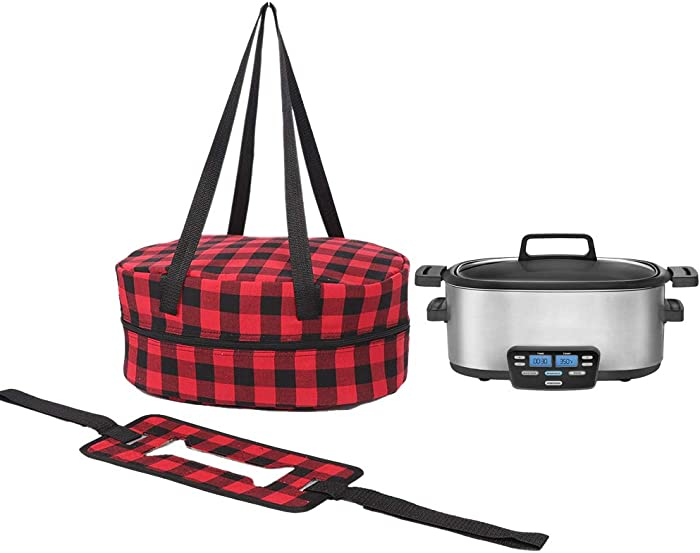 Slow Cooker Bag with Red Checks Print, Oval and Round-Shaped Carrier for Slow Cooker, Insulated Slow Cooker Bag with Carrying Straps, Double-Zipper Closure Insulated Bag for Slow Cooker
