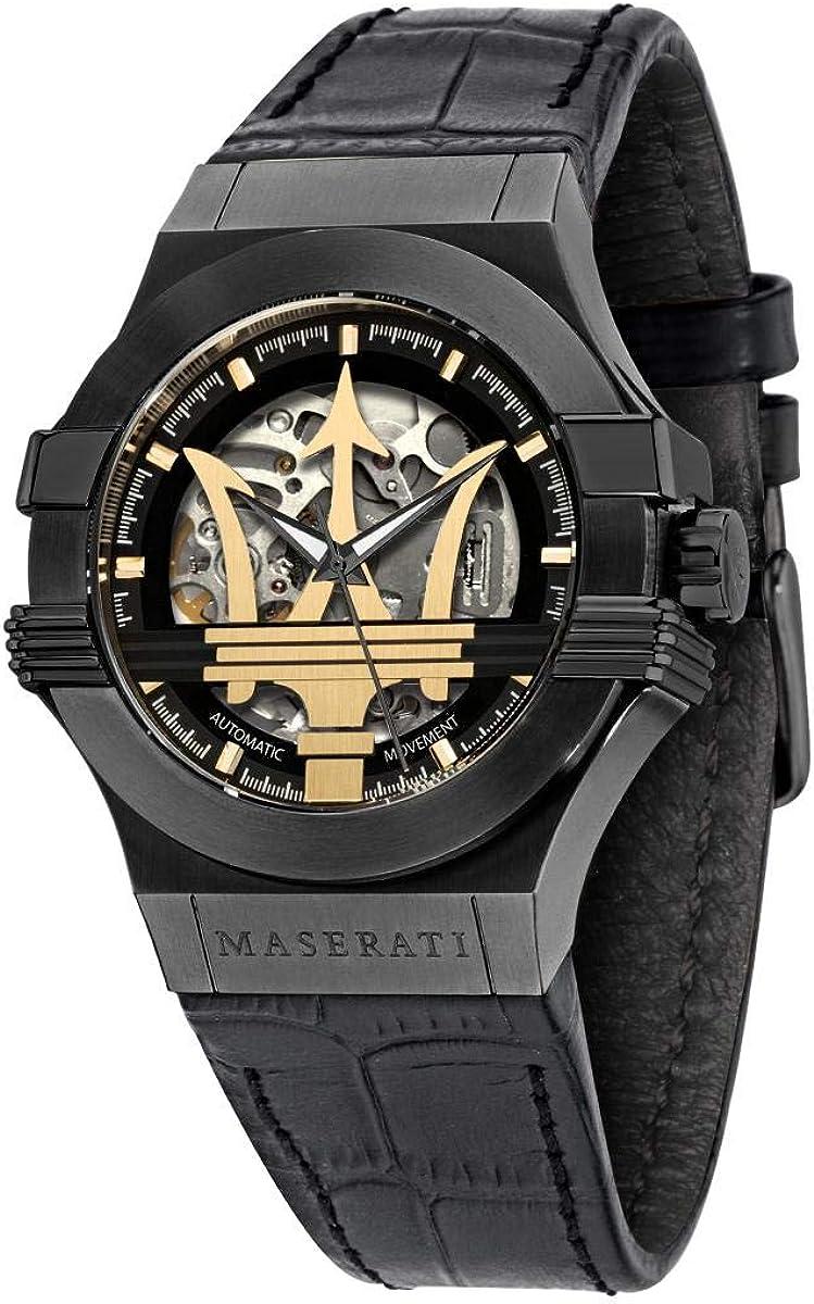 Reloj para Hombre, Colección Potenza, en Acero, PVD Negro, Piel - R8821108027