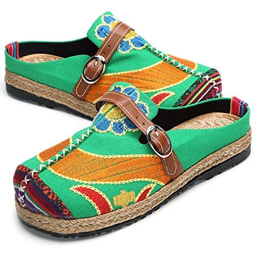 Verde Para Walking Coloridos Sandalias Zapatillas Al de Bordados Planas Zapatillas Aire Zuecos Mujeres Zapatos Libre Playa slipers Mules Jardín Gracosy Ocio Mujeres de Slip Home On XS4nqvdq