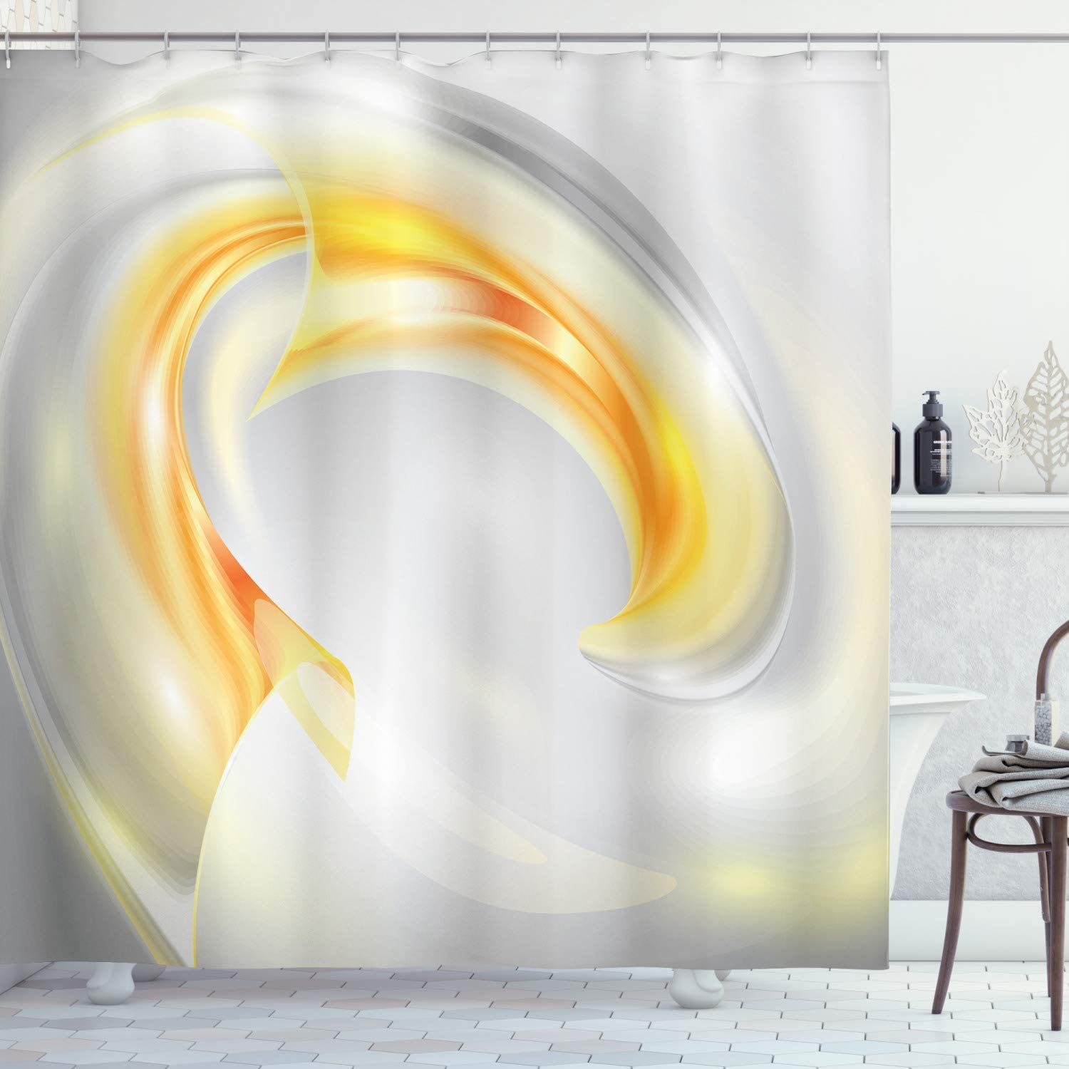 Ambesonne Grey and Yellow Shower Curtain, Abstract Modern Futuristic Wavy Image Ombre Design Art Print, Cloth Fabric Bathroom Decor Set with Hooks, 70