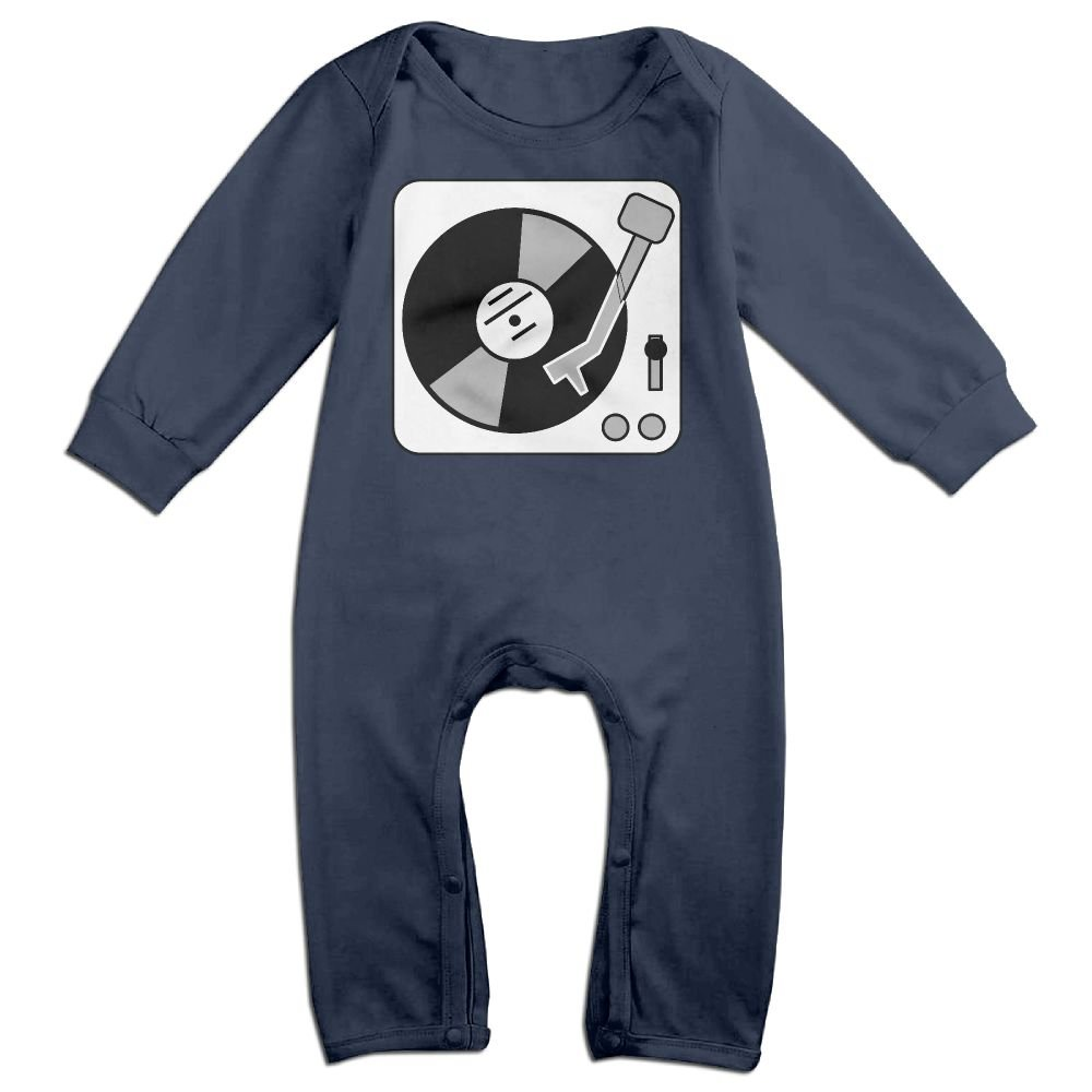 Baby Infant Romper Record Player Turntable DJ Long Sleeve Bodysuit Outfits Clothes Navy NOXIDN SMWI