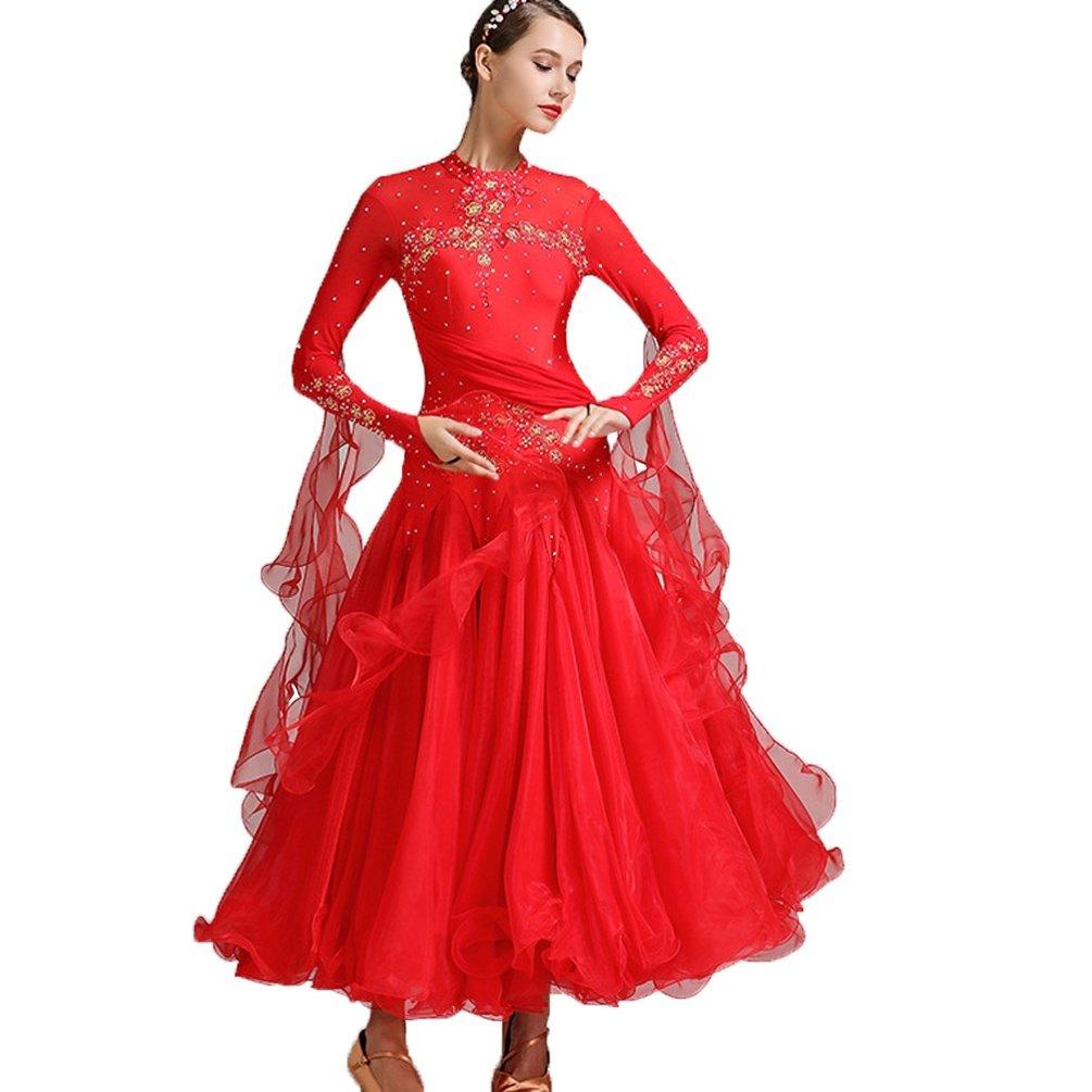 Herrlich Frauen Standard Ballsaal Wettbewerb Prüfung Prüfung Prüfung Kleider Tüllschaukel Tango Waltz Modern Dance Kleid Lange Ärmel B07MD19N8B Bekleidung Erschwinglich c24244