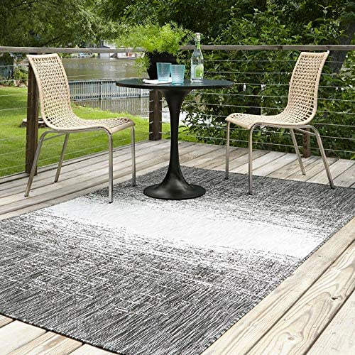 Unique Loom Outdoor Modern Collection Distressed Gradient Transitional Indoor and Outdoor Flatweave Charcoal Gray Area Rug 9' 0 x 12' 0