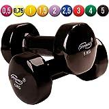 Physionics Vinyl Dumbbells (1 Pair) Weight Set for Ladies Fitness Body Toning Pilates