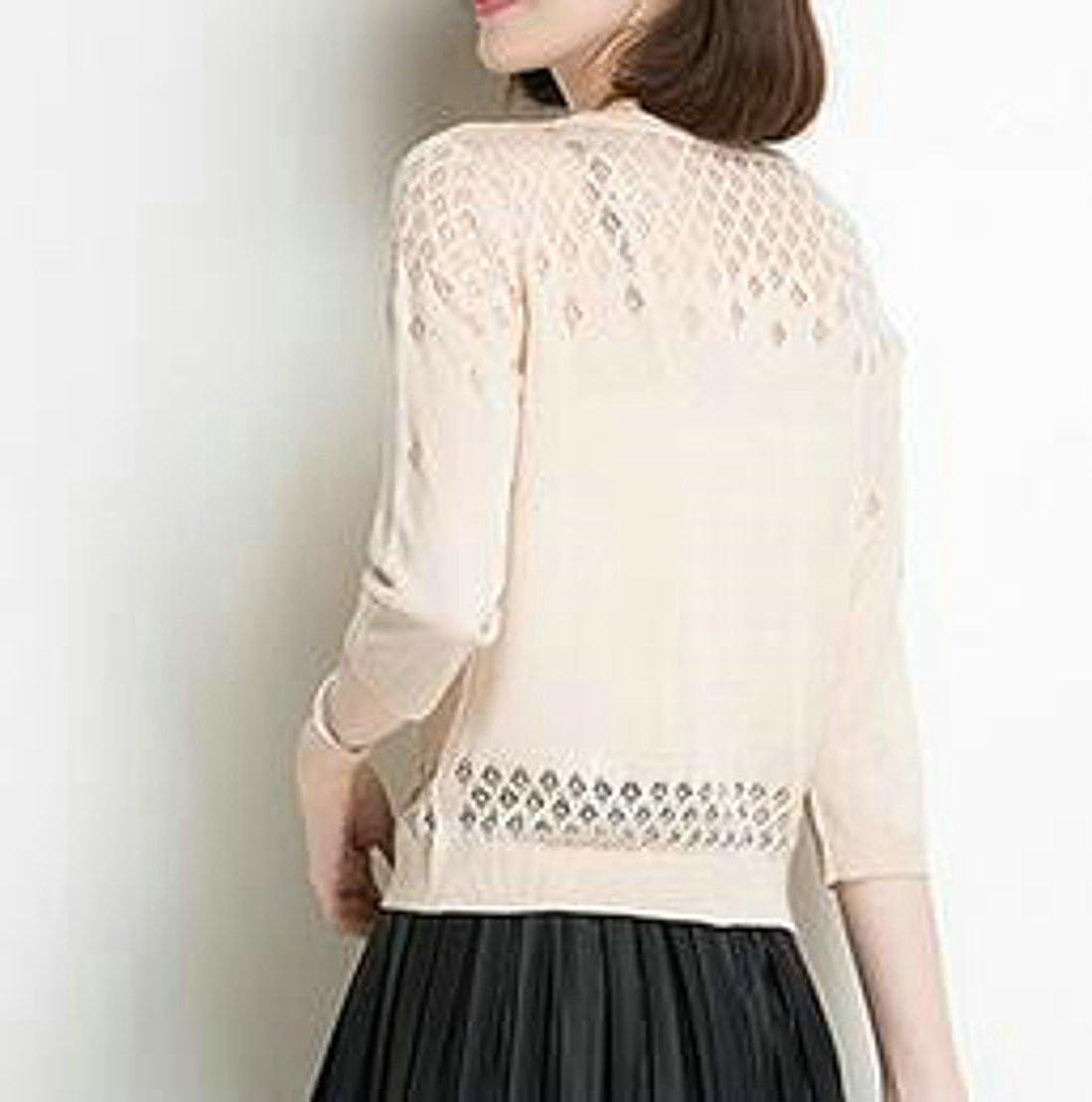 Pluszing Womens Slim Knit V-Neck Sunscreen Cardigans Sheer Thin Shrugs
