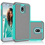 Njjex Case Compatible with Samsung Galaxy J7 2018/J7 Refine/J7 V 2nd Gen/J7 Aero/J7 Aura/J7 Top/J7 Crown/J7 Eon/J7 Star, [Nveins] Impact Hybrid Hard Back Silicone Armor Defender Slim Cover [Turquoise]