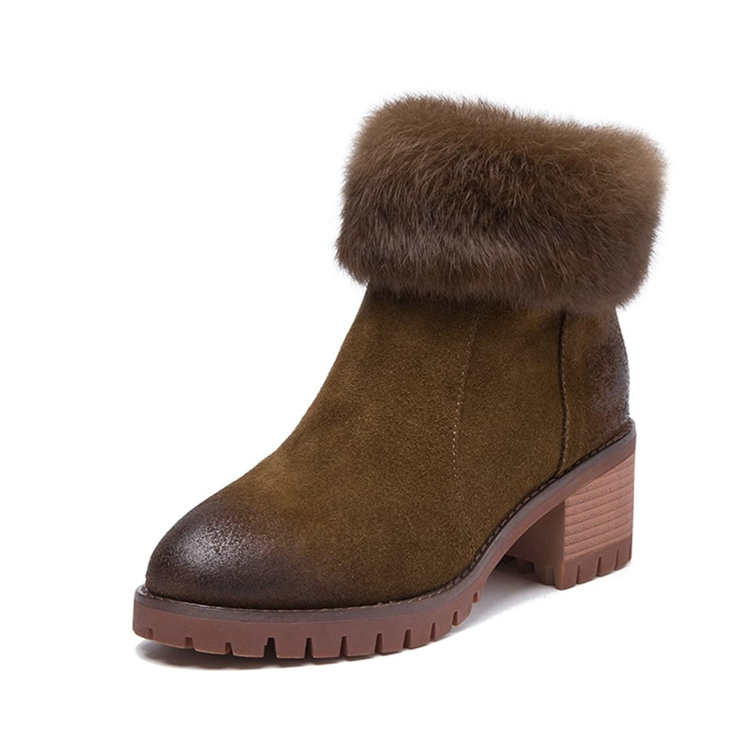 GIY Women Fashion Short Fur Lining Martin Boots Platform Chunky Heel Ankle-high Warm Winter Bootie Shoes