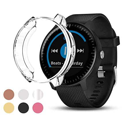 Watbro Screen Protector Case Compatible with Garmin Vivoactive 3 Music, Soft Plated TPU Scratch-Proof Full Protective Protector Case Cover, for Garmin ...