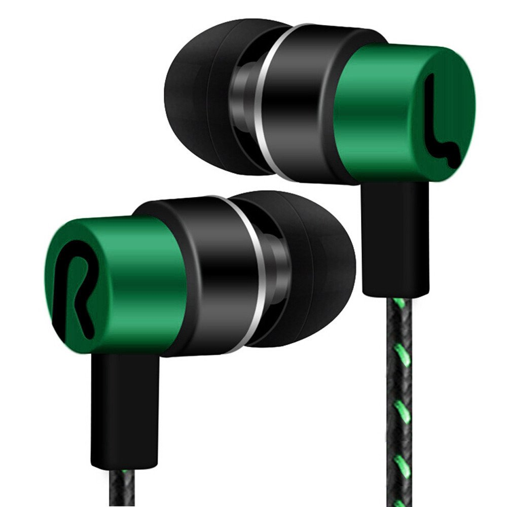 Tuscom Universal 3.5mm in-Ear Superb Bass Stereo Earbuds,1.2 m Ear Line,for Voice Calls and Music for Samsung Xiaomi iPhone Other Smartphones (Green)