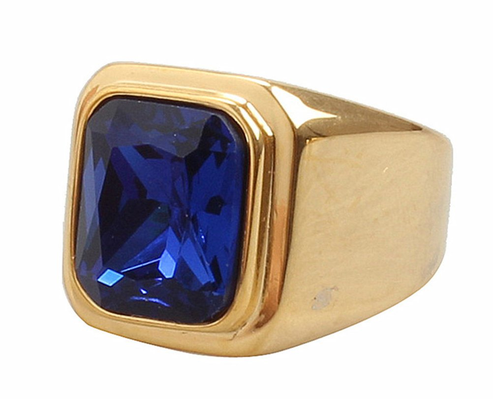 PMTIER Men's Stainless Steel Gold Plated Ring with Square Blue Gem Stone Size 8