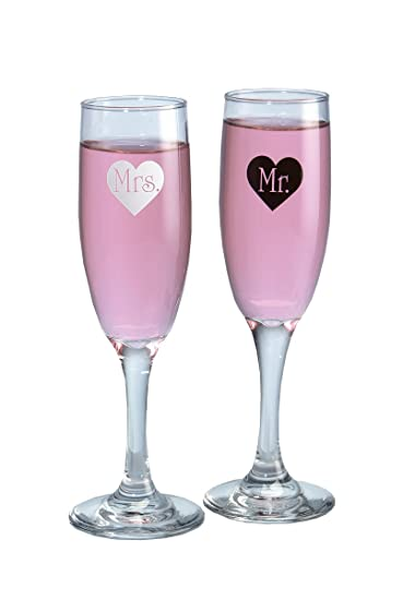 Hortense B Hewitt Wedding Accessories Mr And Mrs Heart Champagne Toasting Flutes
