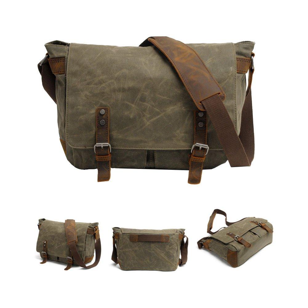 VRIKOO Waterproof Canvas Leather Messenger Bag Crossbody Satchel Shoulder Bags 14 inch Laptop Briefcase