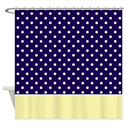 Amazon CafePress Navy Blue Yellow W Dots Shower Curtain