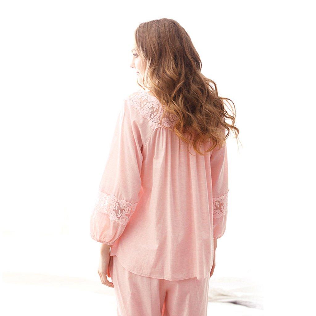Pijamas finos mangas de algodón color rosa princesa de primavera y ...